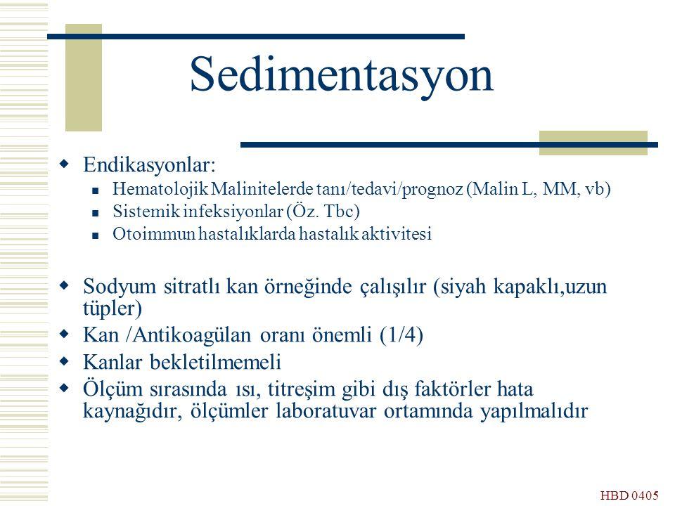 Sedimentasyon Endikasyonlar: