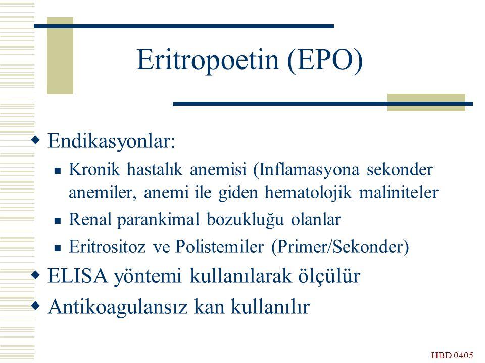 Eritropoetin (EPO) Endikasyonlar: ELISA yöntemi kullanılarak ölçülür