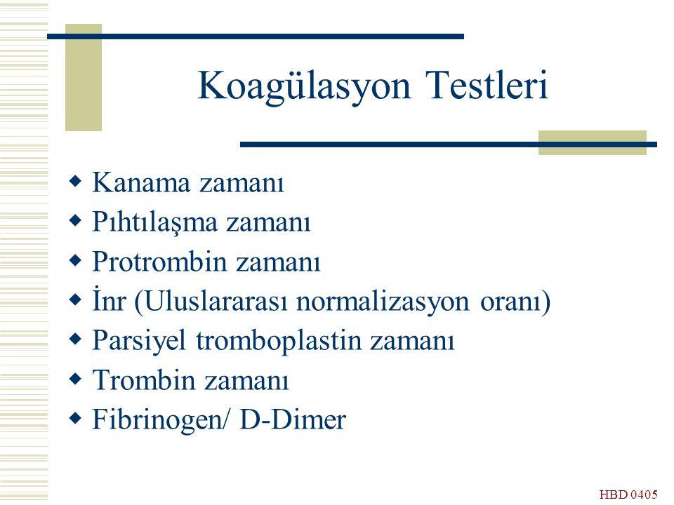 Koagülasyon Testleri Kanama zamanı Pıhtılaşma zamanı Protrombin zamanı