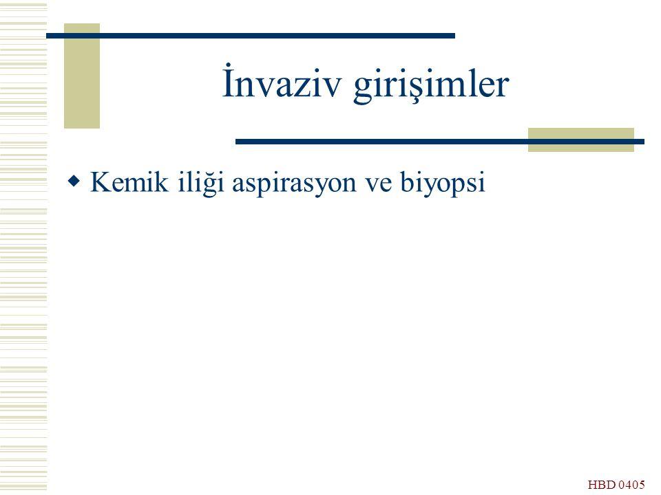 İnvaziv girişimler Kemik iliği aspirasyon ve biyopsi HBD 0405