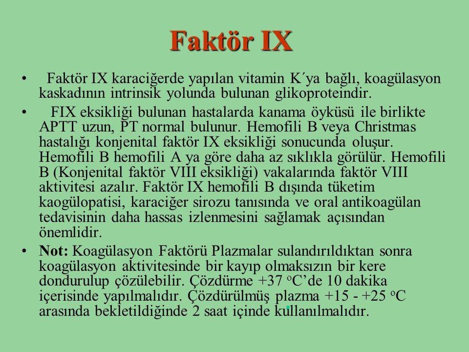 Faktör IX Faktör IX karaciğerde yapılan vitamin K´ya bağlı, koagülasyon kaskadının intrinsik yolunda bulunan glikoproteindir.
