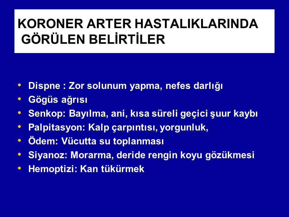 KORONER ARTER HASTALIKLARINDA GÖRÜLEN BELİRTİLER