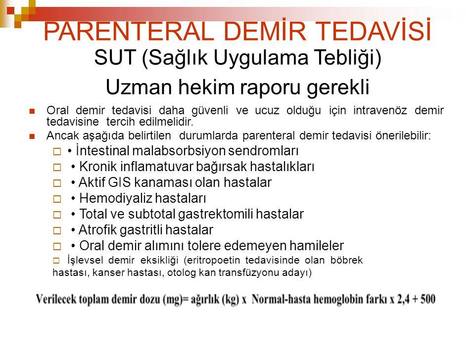 PARENTERAL DEMİR TEDAVİSİ SUT (Sağlık Uygulama Tebliği) Uzman hekim raporu gerekli