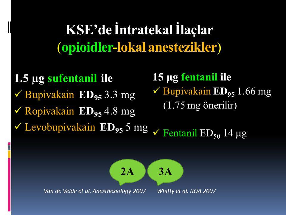 KSE'de İntratekal İlaçlar (opioidler-lokal anestezikler)