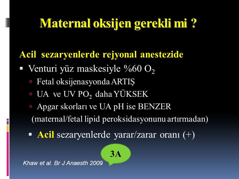 Maternal oksijen gerekli mi Acil sezaryenlerde rejyonal anestezide