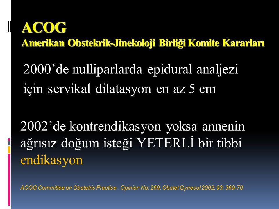 ACOG Amerikan Obstekrik-Jinekoloji Birliği Komite Kararları