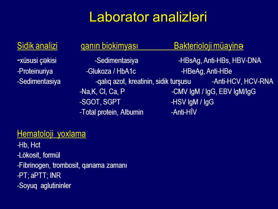Laborator analizləri Sidik analizi qanın biokimyası Bakterioloji müayinə.