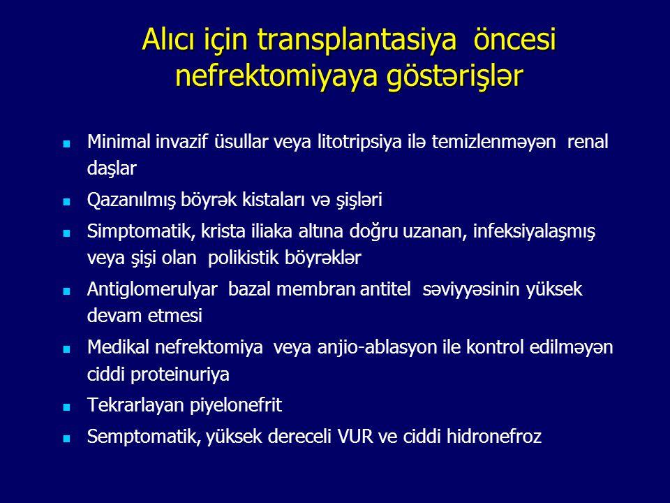 Alıcı için transplantasiya öncesi nefrektomiyaya göstərişlər