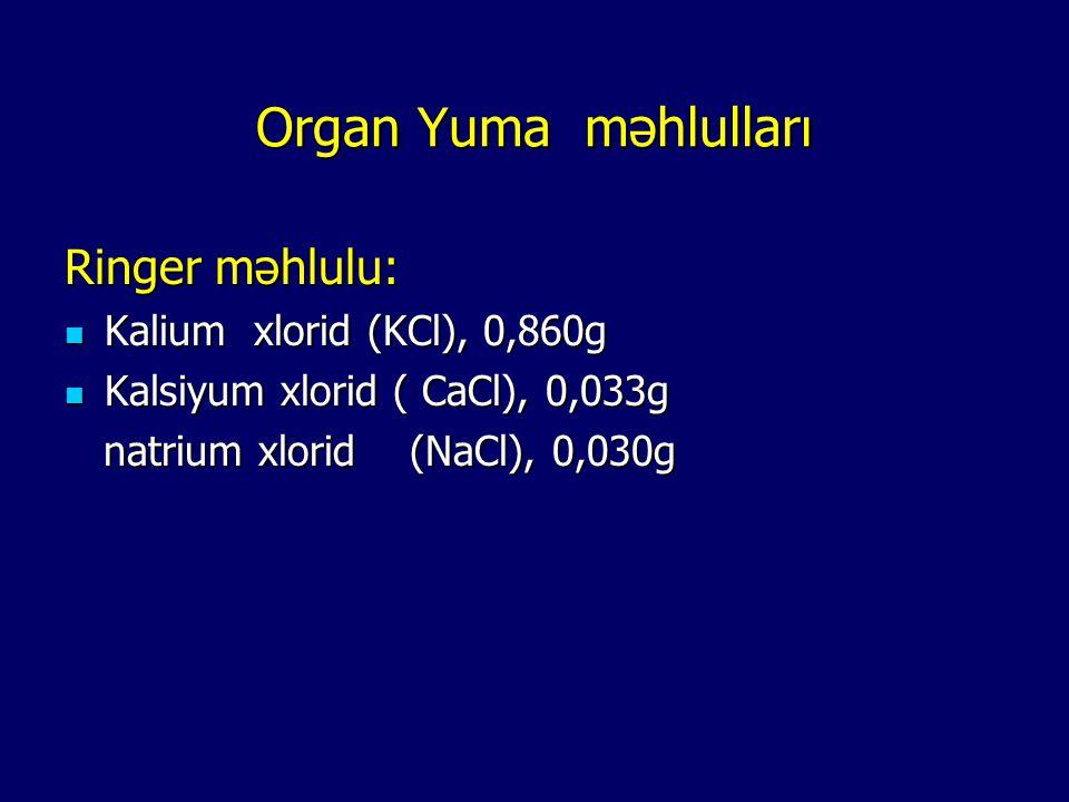 Organ Yuma məhlulları Ringer məhlulu: Kalium xlorid (KCl), 0,860g