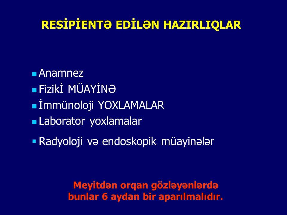 RESİPİENTƏ EDİLƏN HAZIRLIQLAR