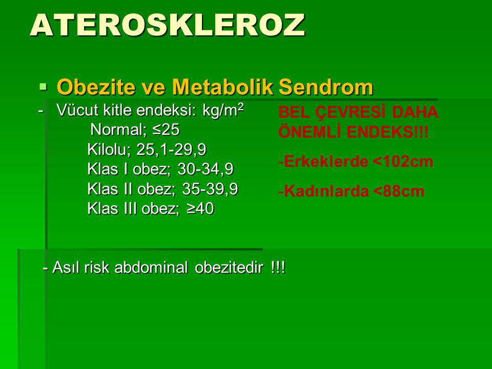 ATEROSKLEROZ Obezite ve Metabolik Sendrom - Vücut kitle endeksi: kg/m2
