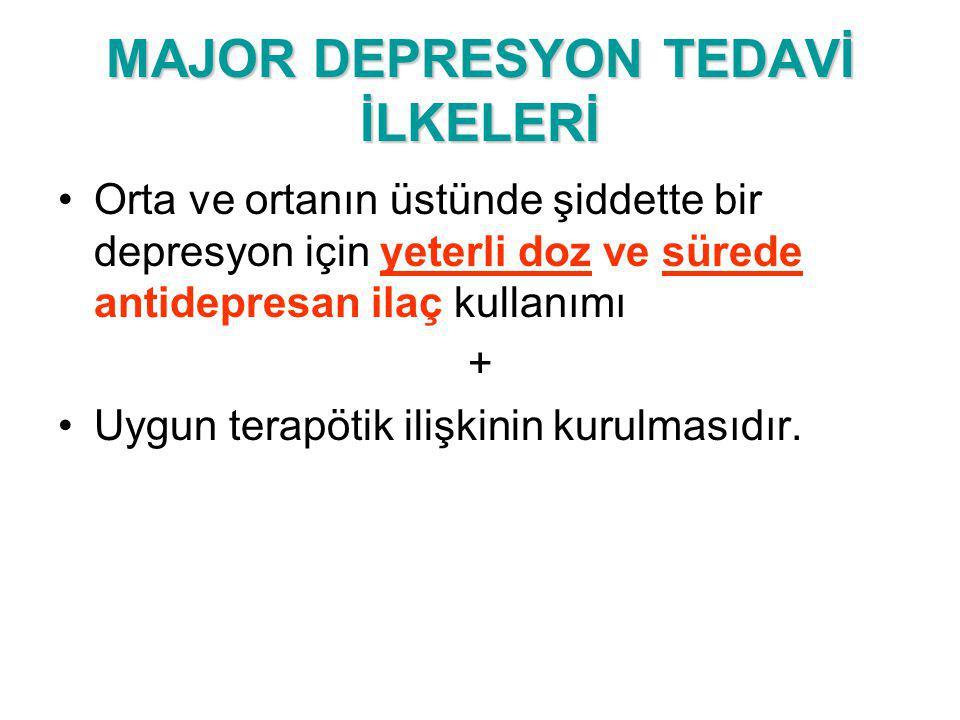 MAJOR DEPRESYON TEDAVİ İLKELERİ
