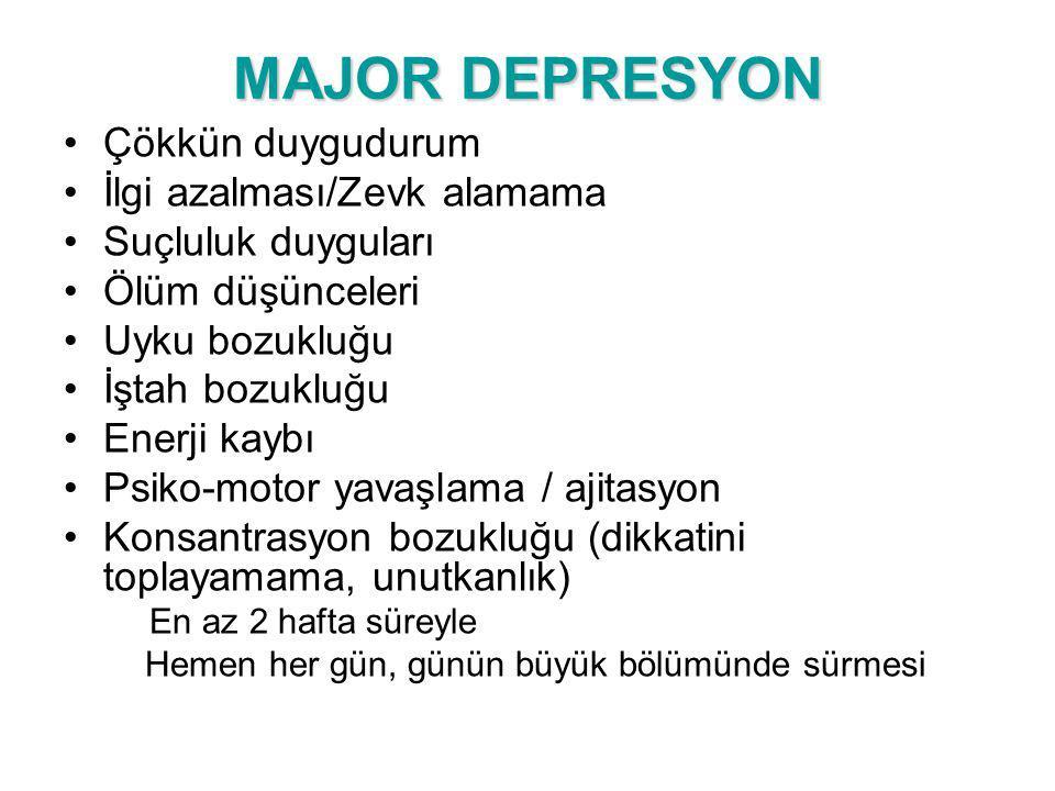 MAJOR DEPRESYON Çökkün duygudurum İlgi azalması/Zevk alamama