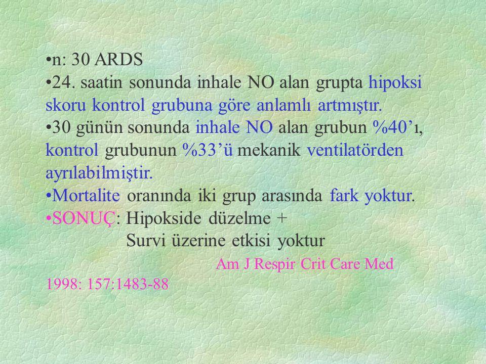 n: 30 ARDS 24. saatin sonunda inhale NO alan grupta hipoksi skoru kontrol grubuna göre anlamlı artmıştır.
