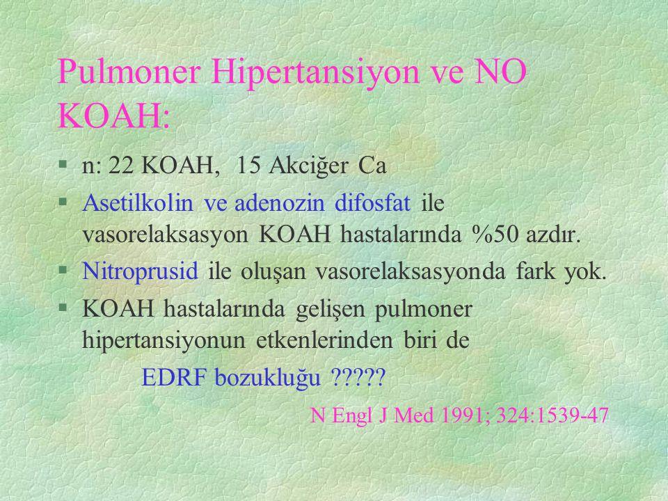 Pulmoner Hipertansiyon ve NO KOAH: