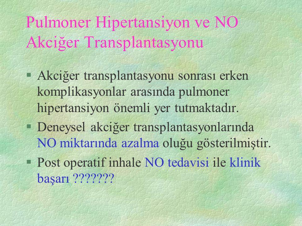 Pulmoner Hipertansiyon ve NO Akciğer Transplantasyonu