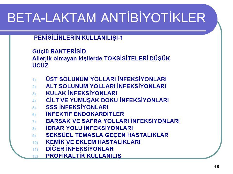 BETA-LAKTAM ANTİBİYOTİKLER