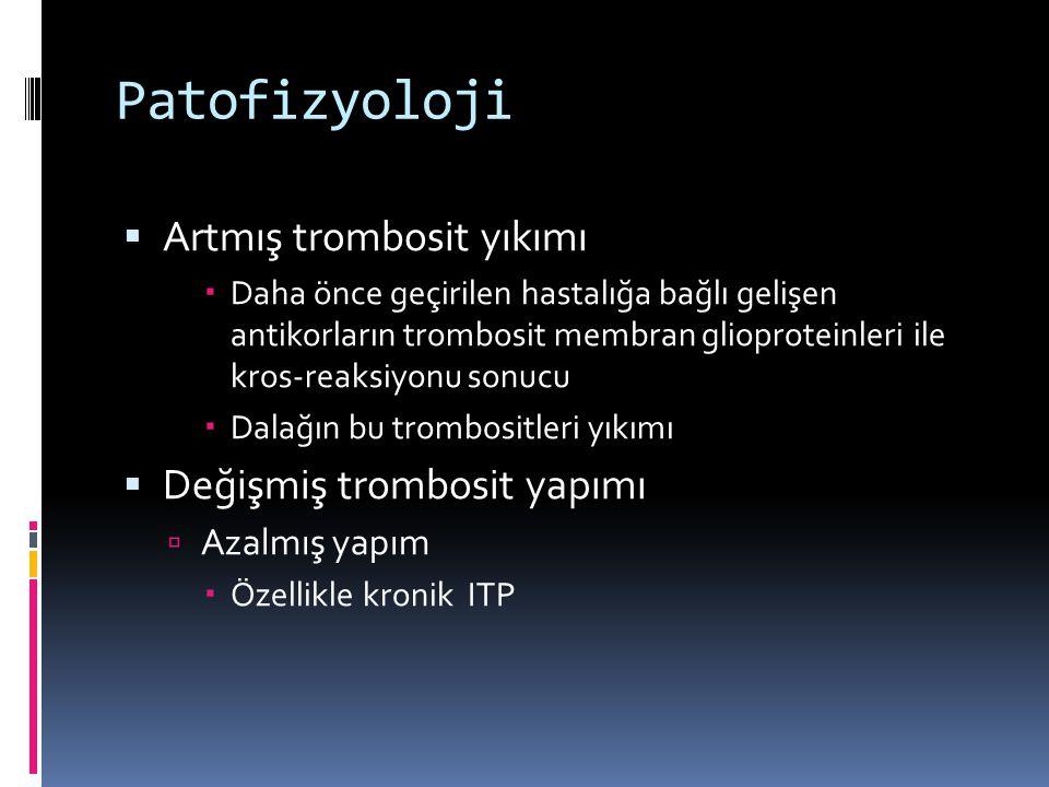 Patofizyoloji Artmış trombosit yıkımı Değişmiş trombosit yapımı