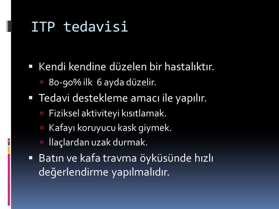ITP tedavisi Kendi kendine düzelen bir hastalıktır.