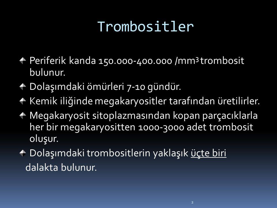 Trombositler Periferik kanda 150.000-400.000 /mm3 trombosit bulunur.