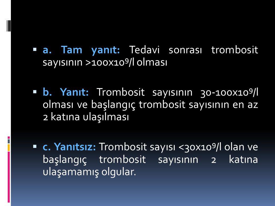 a. Tam yanıt: Tedavi sonrası trombosit sayısının >100x109/l olması