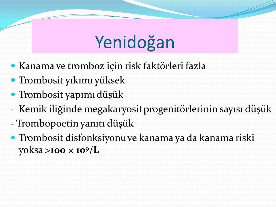 Yenidoğan Kanama ve tromboz için risk faktörleri fazla