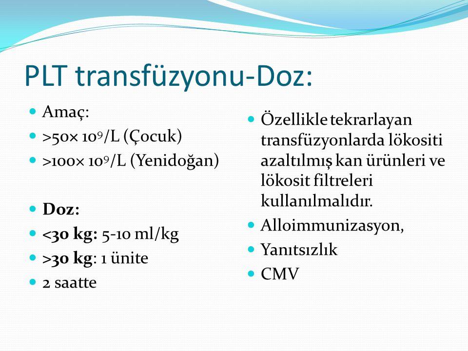 PLT transfüzyonu-Doz: