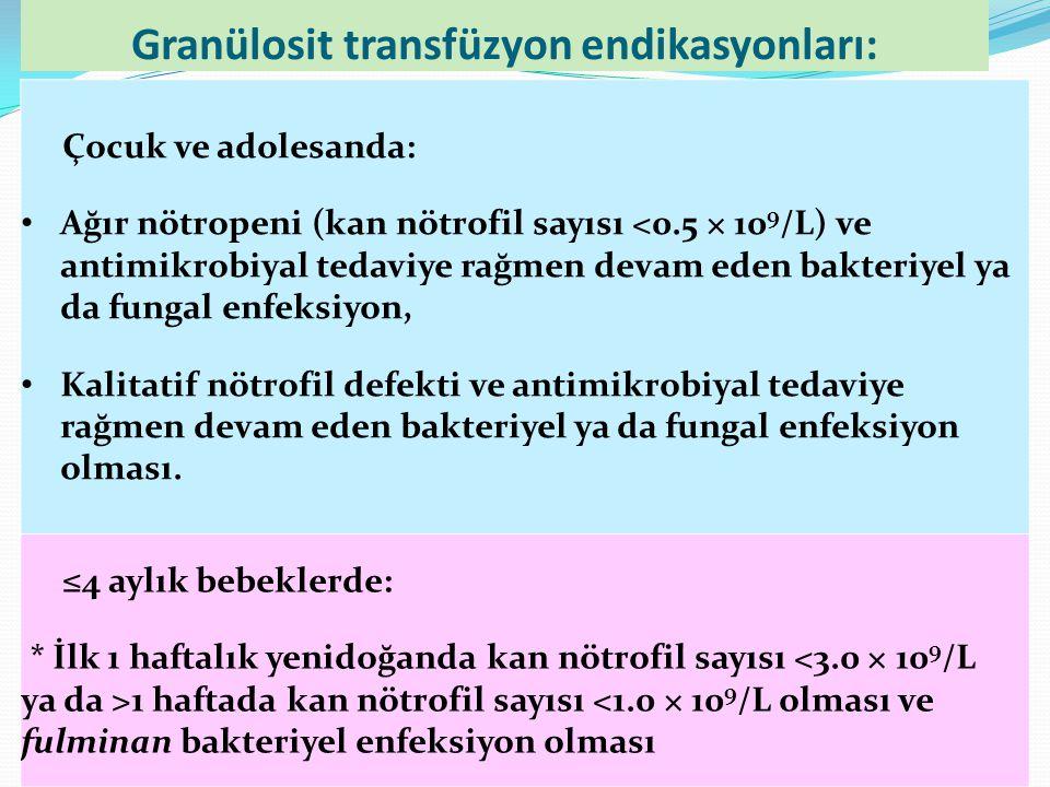 Granülosit transfüzyon endikasyonları: