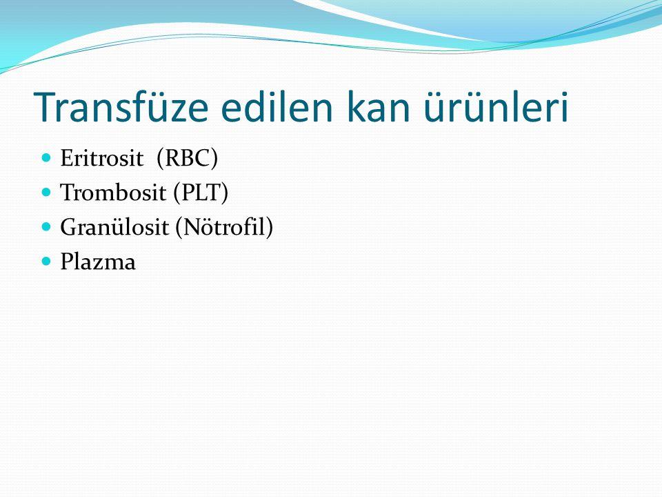 Transfüze edilen kan ürünleri