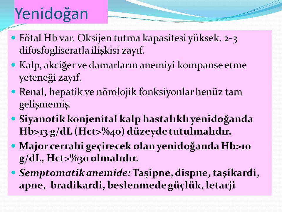 Yenidoğan Fötal Hb var. Oksijen tutma kapasitesi yüksek. 2-3 difosfogliseratla ilişkisi zayıf.