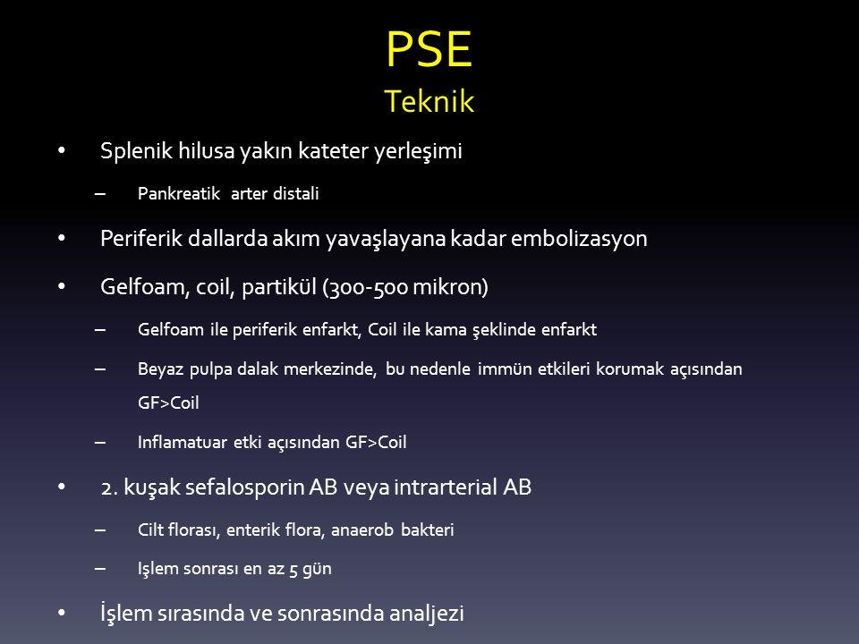 PSE Teknik Splenik hilusa yakın kateter yerleşimi