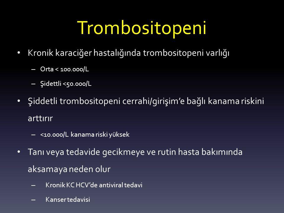 Trombositopeni Kronik karaciğer hastalığında trombositopeni varlığı