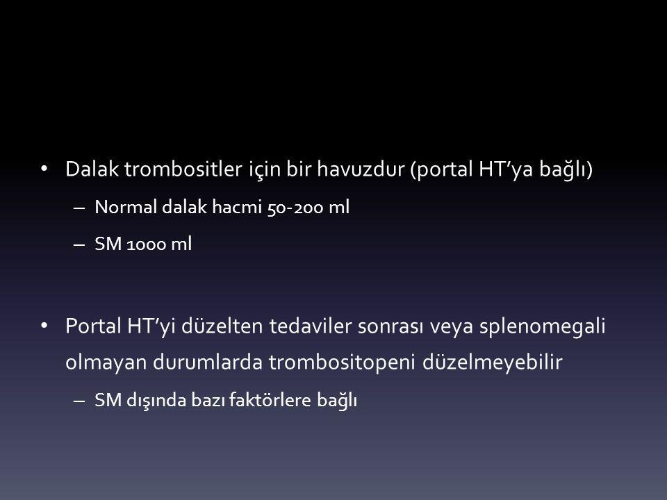 Dalak trombositler için bir havuzdur (portal HT'ya bağlı)