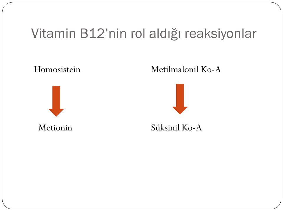 Vitamin B12'nin rol aldığı reaksiyonlar