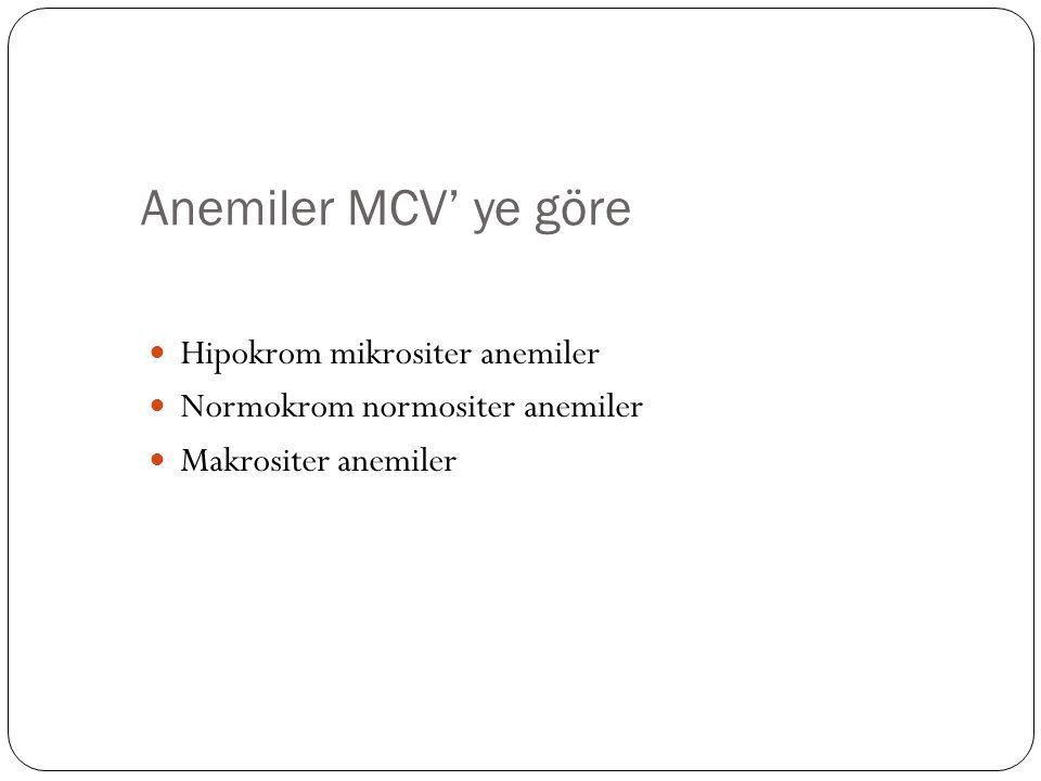 Anemiler MCV' ye göre Hipokrom mikrositer anemiler