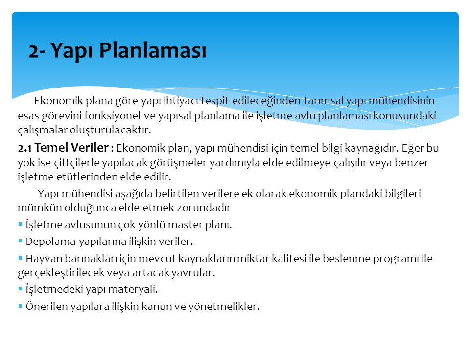 2- Yapı Planlaması