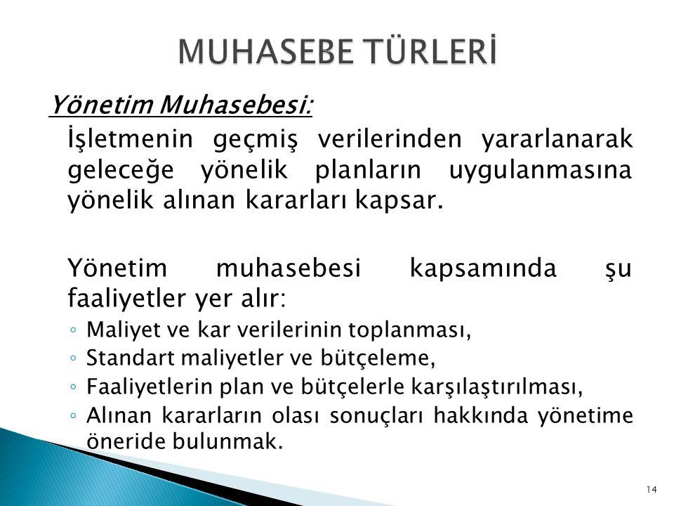 MUHASEBE TÜRLERİ Yönetim Muhasebesi: