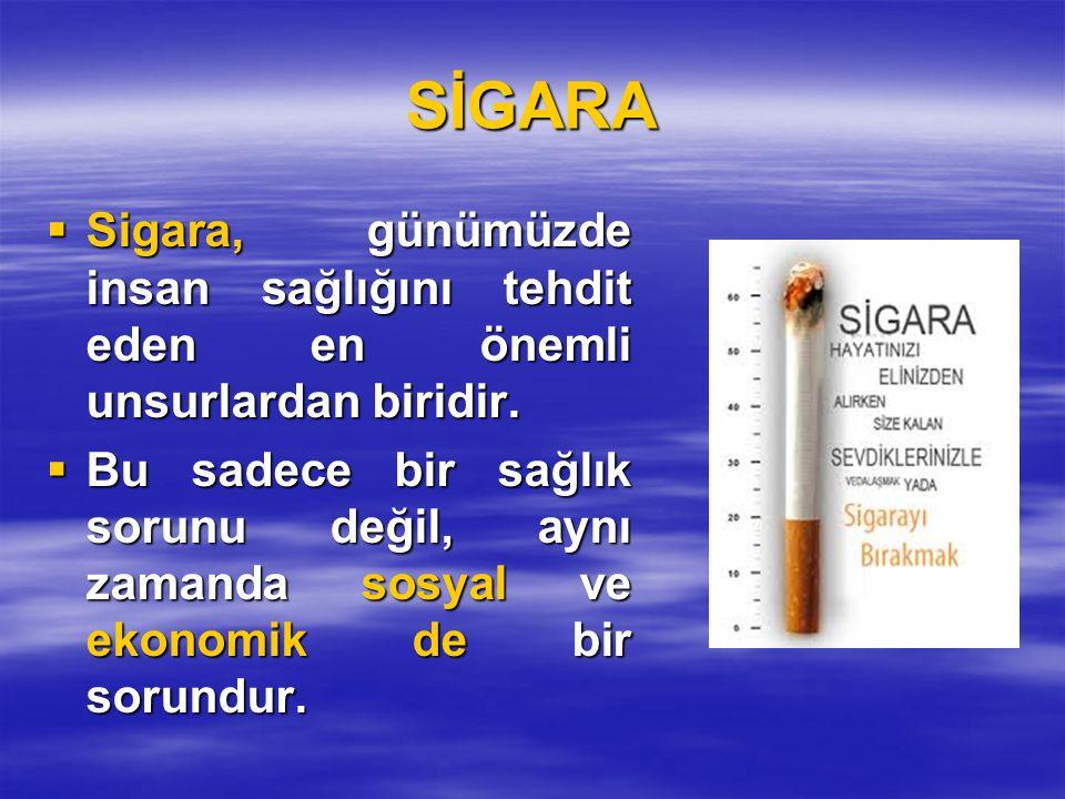 SİGARA Sigara, günümüzde insan sağlığını tehdit eden en önemli unsurlardan biridir.