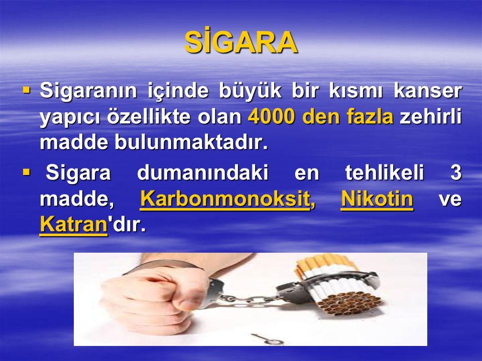 SİGARA Sigaranın içinde büyük bir kısmı kanser yapıcı özellikte olan 4000 den fazla zehirli madde bulunmaktadır.