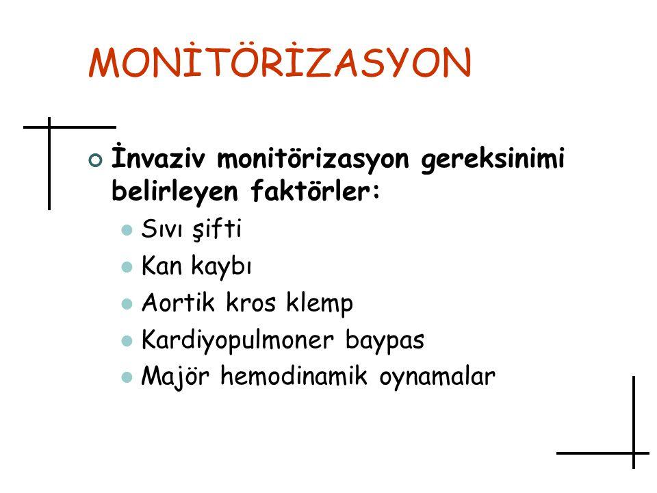 MONİTÖRİZASYON İnvaziv monitörizasyon gereksinimi belirleyen faktörler: Sıvı şifti. Kan kaybı. Aortik kros klemp.