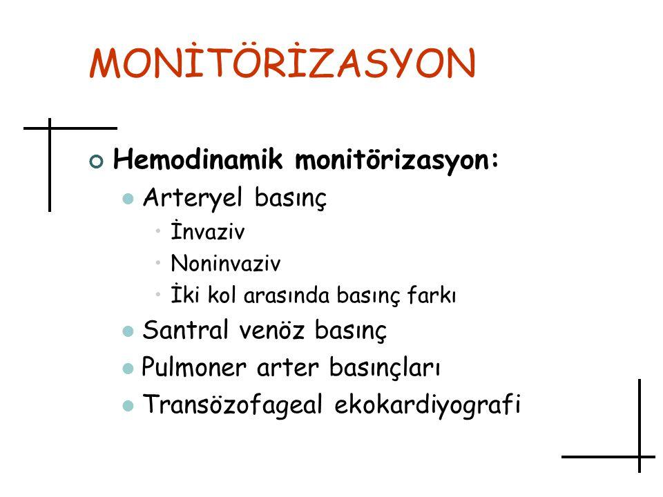 MONİTÖRİZASYON Hemodinamik monitörizasyon: Arteryel basınç