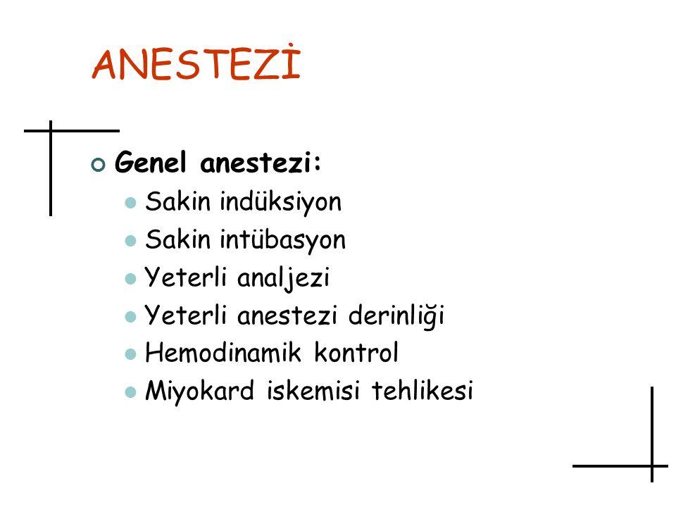 ANESTEZİ Genel anestezi: Sakin indüksiyon Sakin intübasyon