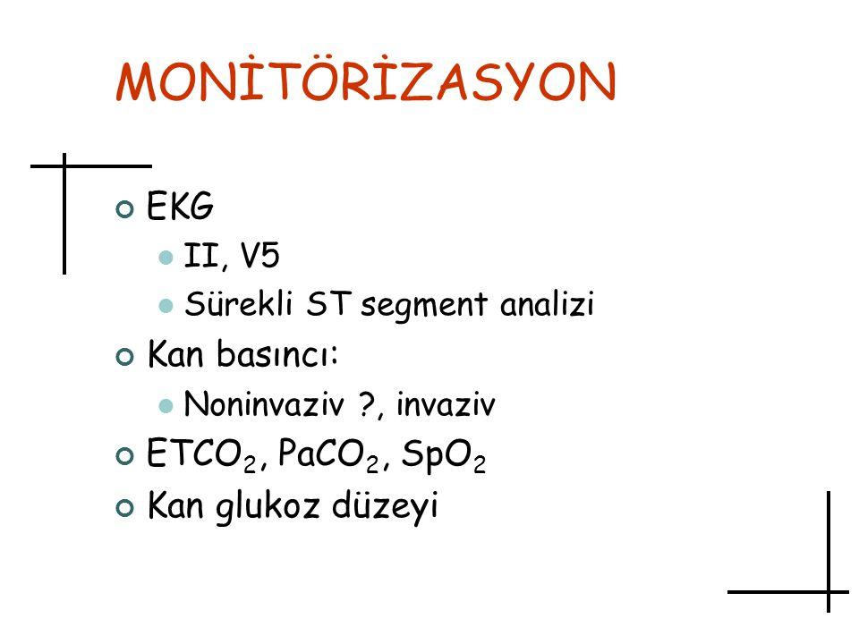 MONİTÖRİZASYON EKG Kan basıncı: ETCO2, PaCO2, SpO2 Kan glukoz düzeyi