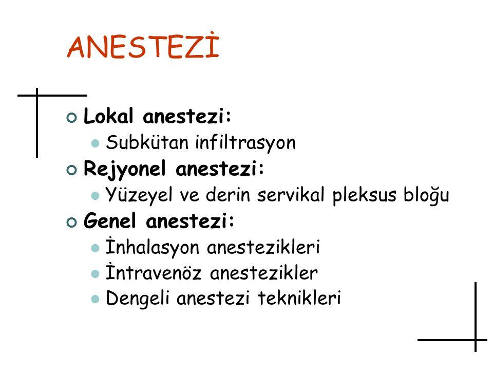 ANESTEZİ Lokal anestezi: Rejyonel anestezi: Genel anestezi:
