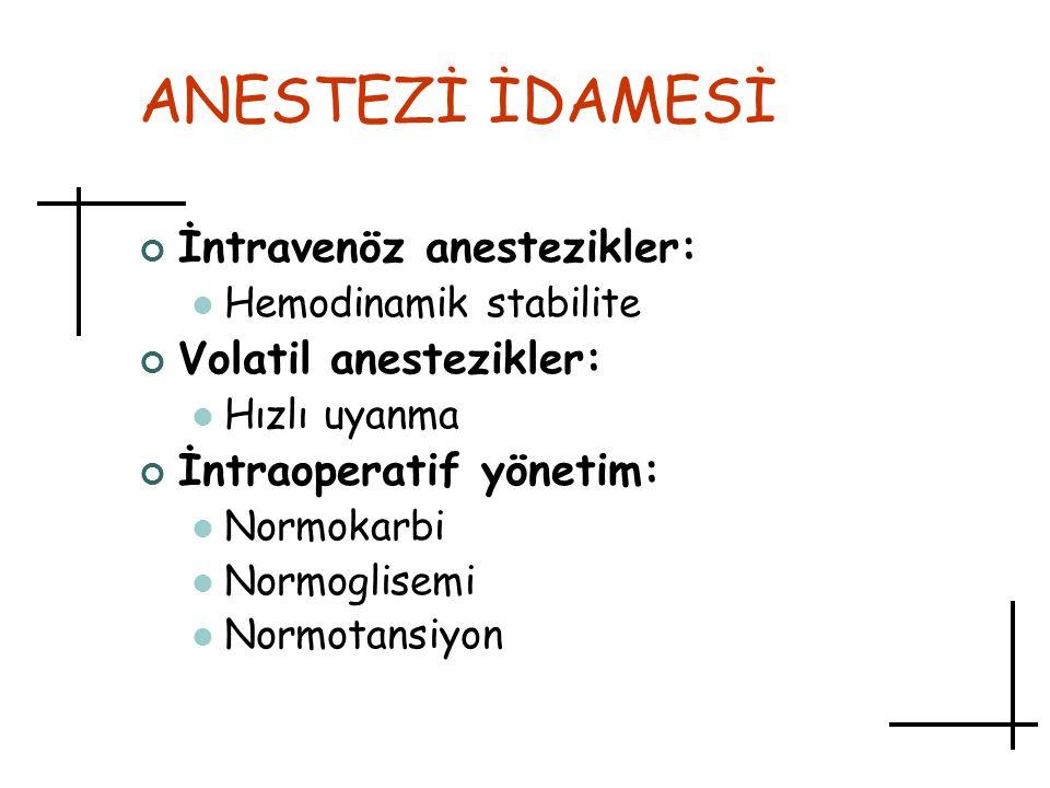 ANESTEZİ İDAMESİ İntravenöz anestezikler: Volatil anestezikler: