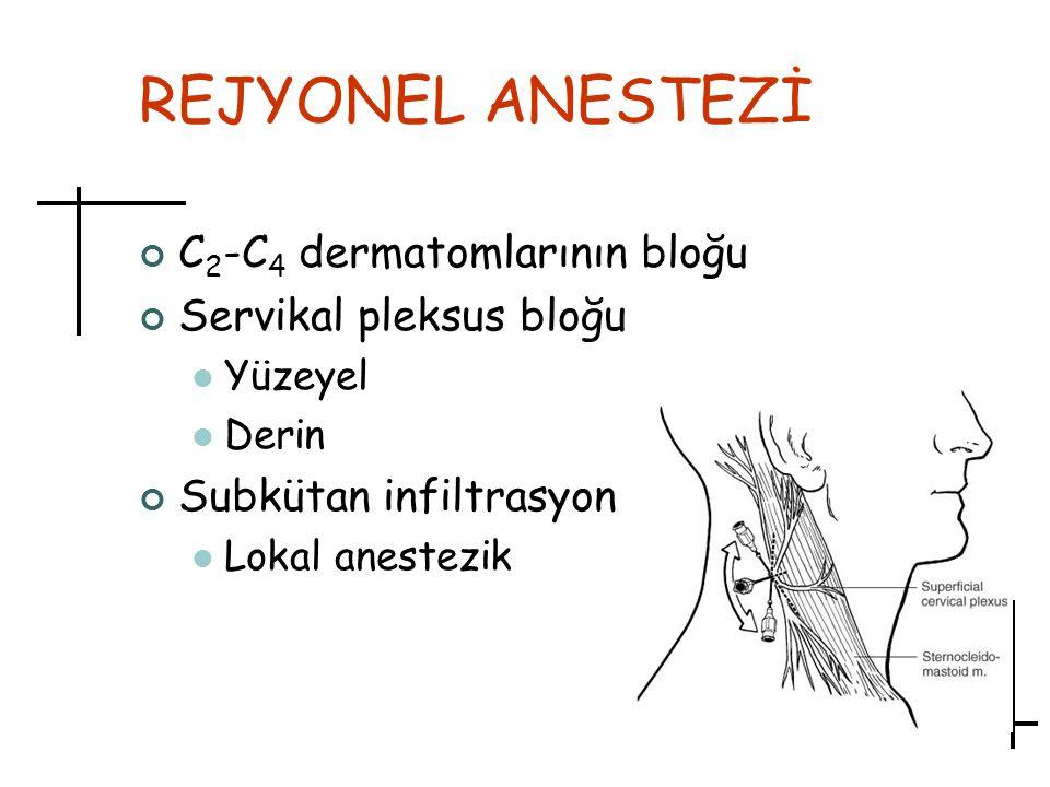 REJYONEL ANESTEZİ C2-C4 dermatomlarının bloğu Servikal pleksus bloğu