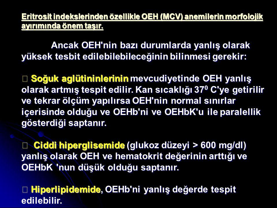 ◆ Hiperlipidemide, OEHb ni yanlış değerde tespit edilebilir.