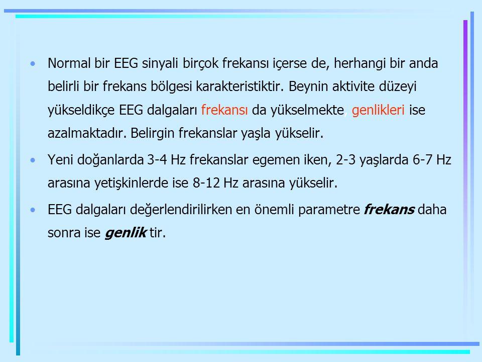 Normal bir EEG sinyali birçok frekansı içerse de, herhangi bir anda belirli bir frekans bölgesi karakteristiktir. Beynin aktivite düzeyi yükseldikçe EEG dalgaları frekansı da yükselmekte, genlikleri ise azalmaktadır. Belirgin frekanslar yaşla yükselir.