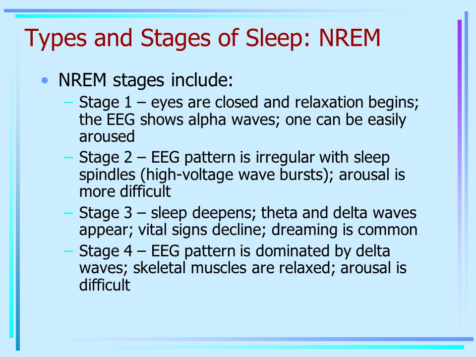 Types and Stages of Sleep: NREM