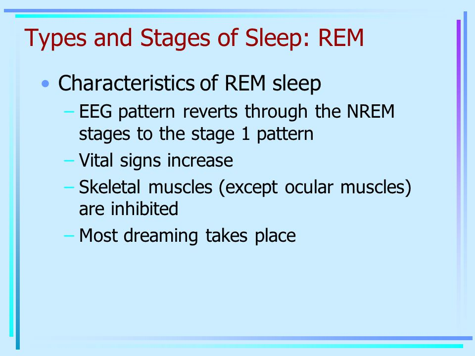 Types and Stages of Sleep: REM